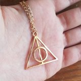 Harry Potter Deathly Hallows ketting goud - filmspullen.nl