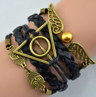 Harry Potter Deathly Hallows armband (zwart)