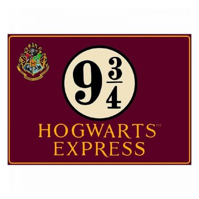 Harry Potter tinnen bord Platform 9 3/4
