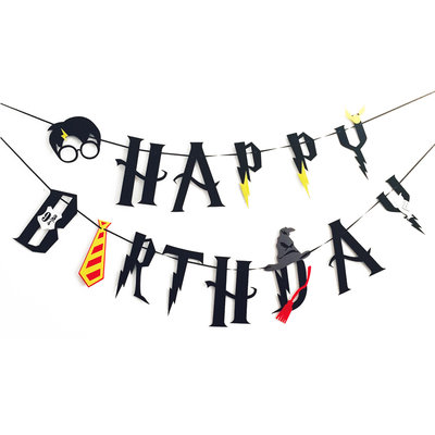 Harry Potter 'Happy Birthday' slinger zwart